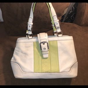 Leather white and lime green Coach bag